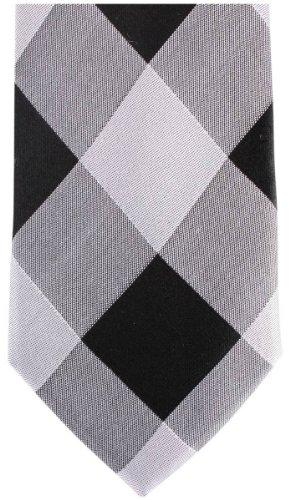 Knightsbridge Neckwear Silver/Black Diamond Silk Skinny cravate de