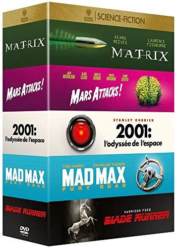 Collection de 5 films science fiction Warner : Blade Runner + Mad Max : Fury Road + 2001 : l'odyssée de l'espace + Mars Attacks! + Matrix [Francia] [DVD]