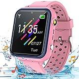 Smooce Smartwatch Kinder Telefon,Wasserdicht Musik Smartwatch für Kinder,Kinder Smartwatch mit 11 Spiele SOS Anruf Kamera Stoppuhr Wecker Rekorder Rechner für Jungen Mädchen(Pink)