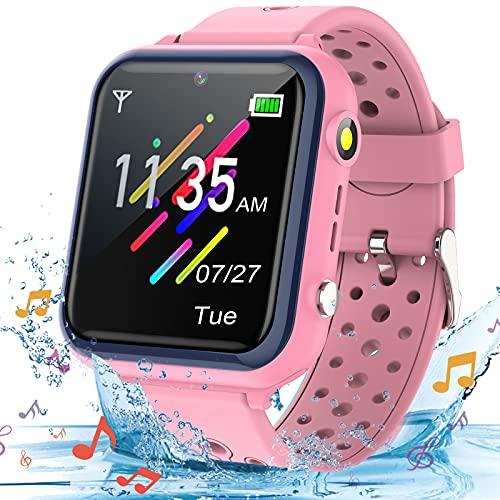 Smooce Reloj Inteligente para niños,Smartwatch para Niños de música a Prueba de Agua para teléfono móvil para niños niña niño(Que Incluye Micro SD de 1 GB) (Rosa)