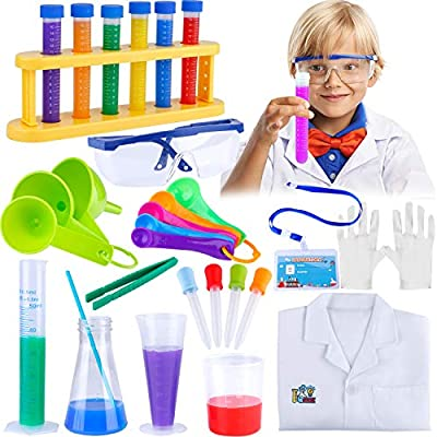 GINMIC 29pcs Kids Science Experiment Kit Lab Coat Set Scientist Costume Dress Up and Role Play Toys Gift for Boys Girls Kids Age 6+ Christmas Birthday Party