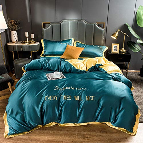 geek cook Four-piece bed,2020 matching washed ice silk silk four-piece set bedding solid color letter embroidery embroidery kit-Dark green turmeric_1.8m bed sheet quilt cover 200 * 230