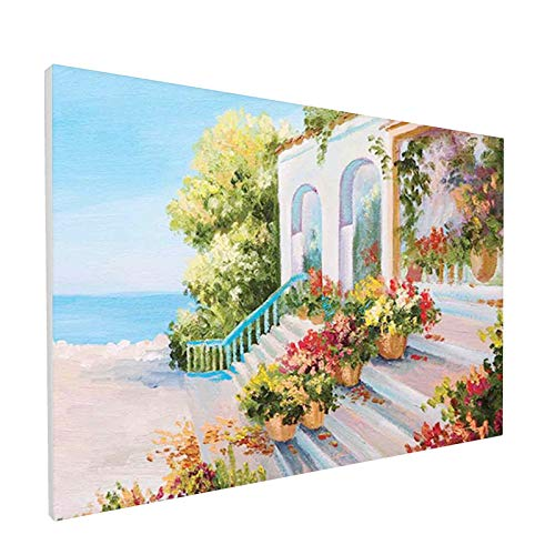 Home Decor Bathroom Wall Art Watercolor Canvas Prints,Sea View from The Terrace of a Retro House Art Flowers Old Stairs,Painting Framed Stretched Pictures 12x18 Inches