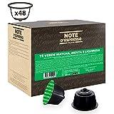 Note d'Espresso - Cápsulas de té verde matcha con menta y regaliz, Exclusivamente Compatibles con cafeteras de cápsulas Nescafé, Dolce Gusto, 48 unidades de 16g