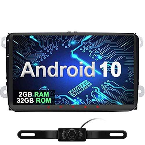 9' Android 10 Quad Core [2GB+32GB] autoradio 2 DIN navigatore satellitare video Player GPS navigazione supporta Bluetooth DAB + OBD2 per VW Volkswagen Seat Skoda Golf polo Jetta Passat Touran