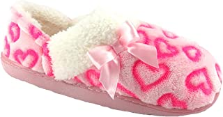 Wonder Nation Girl's Pink Hearts Soft Loafer Style Slipper House Shoes (