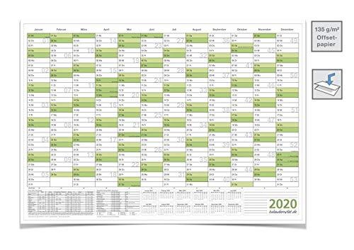 WANDKALENDER/JAHRESPLANER 2020 MIT FERIEN A3 42,0 X 29,7 cm 135 G grün gefaltet