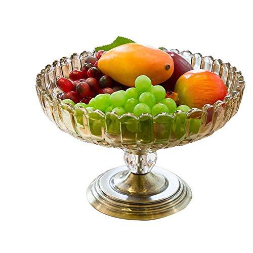 YNGH Cesta Europeo de Metal de Vidrio Secado Fruta Placa de Fruta Sala de muestras casero Mesa de café Decoraciones Suaves Fruta tazón-Default