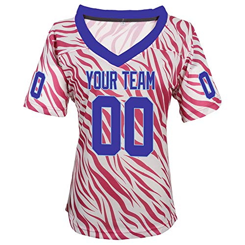 Pullonsy Pink Zebra Pattern Custom Football Jerseys for Girls Stitched Names and Numbers,Blue-Light Blue,Size S