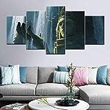 KWzEQ Buda Creativo Lienzo Pintura al óleo Arte de la Pared 5 Tablero Cartel Moderno para Sala de Estar decoración del hogar,Pintura sin Marco,20x35cmx2, 20x45cmx2, 20x55cmx1