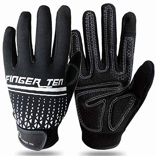 Träningshandskar helfinger män kvinnor pekskärm gel vadderad halkskydd för cykling fitness gym tyngdlyftning fiske körning, träning träningshandskar styrka fullt palmskydd (svart, M)