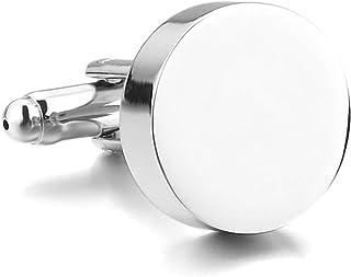 MFYS Jewelry ファッション アクセサリー シルバー 簡約主義 シンプルリング, 合金 簡素極まりない クラシック シルバー ラウンド カフス (カフスボタン?カフリンクス)【ジュエリーBOX付き】