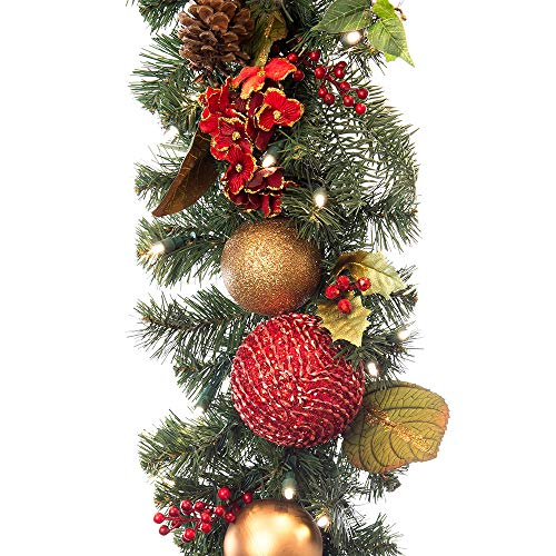 [9 Foot Artificial Christmas Garland] - Scarlet Hydrangea Collection - Red and Gold Decoration - Pre Lit with 100 Warm Clear Colored LED Mini Lights - Includes Remote Control Battery Pack with Timer