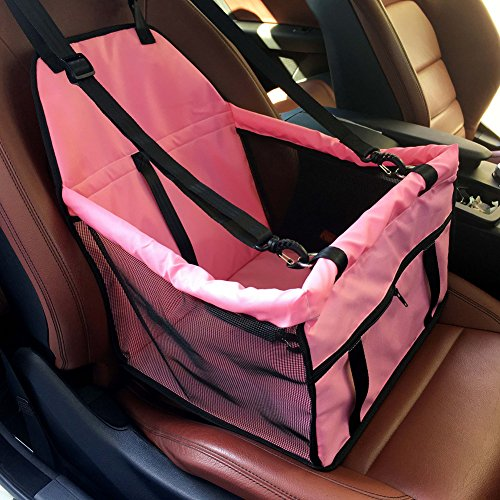 Geega Pet Portable Foldable Non Collapsible Waterproof Comfortable Dog Carrier Booster Seat Belt Cover Cage Purse for Dog Cat Rabbit Puppy Kitty Car Travel with Hasp Carbon Frame (Pink)