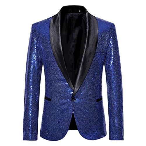 Homebaby Blazer Uomo Giacca Elegante Blazer di Paillettes Slim Fit Costume di Prestazioni Tutu Abito Fiesta Colletto Cappotto Formale Casual Lavoro Completo Classic Festa Smoking Cardigan