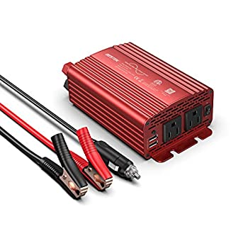 BESTEK 300Watt Pure Sine Wave Power Inverter DC 12V to AC 110V Car Plug Inverter Adapter Power Converter with 4.2A Dual USB Charging Ports and 2 AC Outlets Car Charger ETL Listed
