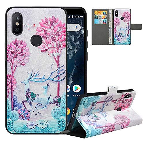 LFDZ Funda Xiaomi Mi A2,Fundas Xiaomi Mi 6X de [2 en 1,Desmontable] PU Cuero Billetera,[Bloqueo de RFID] Libro Antigolpe Magnético Soporte Case Carcasa para Xiaomi Mi A2 / Mi 6X,Deer