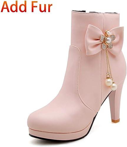 HOESCZS Nouveau Grande Taille 32-43 Talons Doux Bow Bottines Femme Chaussures Ajouter Fourrure Bottes d'hiver Femme Bottes Chaussures Femme