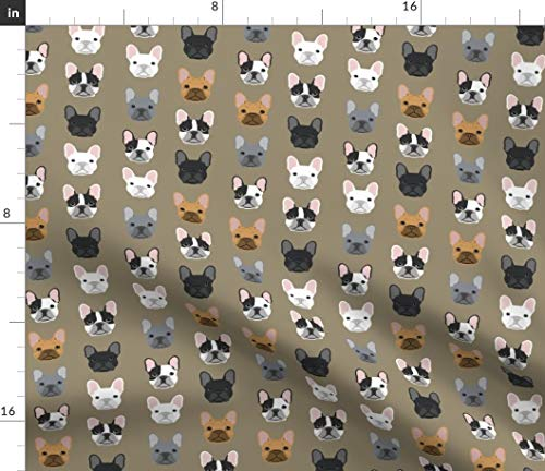 Spoonflower Fabric - French Bulldog, Dogs, Pet, Puppy, Frenchies, Frenchie, Dog, Brown Printed on Petal Signature Cotton Fabric by The Yard - Sewing Quilting Apparel Crafts Decor