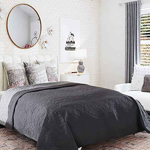 Tongtong Doppelseitige Tagesdecke Wohndecke Tagesdecke mit Floraler Steppungi Bettüberwurf Steppdecke Patchwork Bettdecke Stepp Decke Doppelbett Unterfüttert 220×240