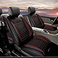 Ssangyong Kyrando Actyon Rodius Kyron Universal Car Seat Protectors 5シートフルセット人工レザー防水、簡単なインストール (Color : Black red, Size : Standard edition)
