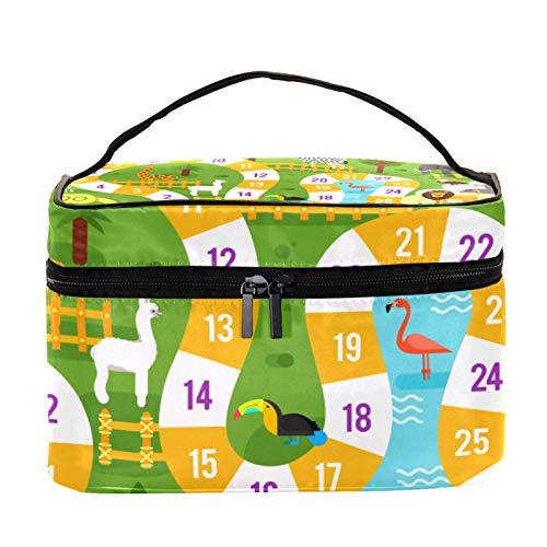 Reise-Make-up-Tasche Große Kosmetiktasche,Tier Brettspiel Vorlage ,Make-up-Tasche Organizer für Frauen und Mädchen