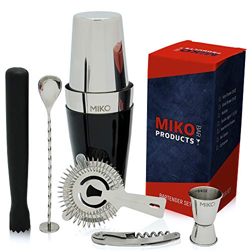 Miko Professional Bartender Kit - Cocktail Shaker Bar Set - Includes Bar Tools & Bartender Accessories: Boston Cocktail Shaker, Muddler, Strainer, Jigger, Bar Spoon, Corkscrew (Regular-Used)