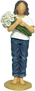 WL SS-WL-18414, 6 Inch Woman Blue Jeans Holding Daisies Thinking of You Figurine, 6
