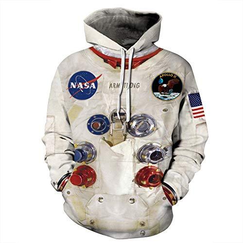 NASA Unisex trui met capuchon voor mannen en vrouwen, lange mouwen, met trekkoord, hoodie met grote zakken S-XXXXXL