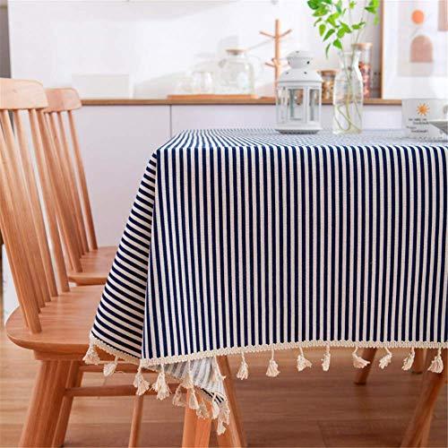 SONGHJ Leinen Baumwolle Quaste Tischdecke Rechteck Rand Tischdecke Gedruckt Staubdicht Tischdecken B 140x250cm