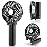 Portable Handheld Fan,USB Rechargeable Hand Fan with 2200mAh Battery Operated, Mini Hand Held Fans 3 Speeds Adjustable, 180° Rotation Foldable Personal Desk Fan for Home Office Travel