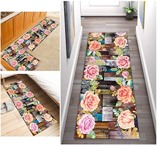 ZDYHMrj Alfombra de Pasillo Moderno 3D Patrón Floral Antideslizante,Larga Lavable de poliéster Adecuada para Pasillo, Cocina, Sala de Estar, Ancho 60cm/ 70cm/ 80cm/ 90cm/ 100cm (Size : 50x200cm)