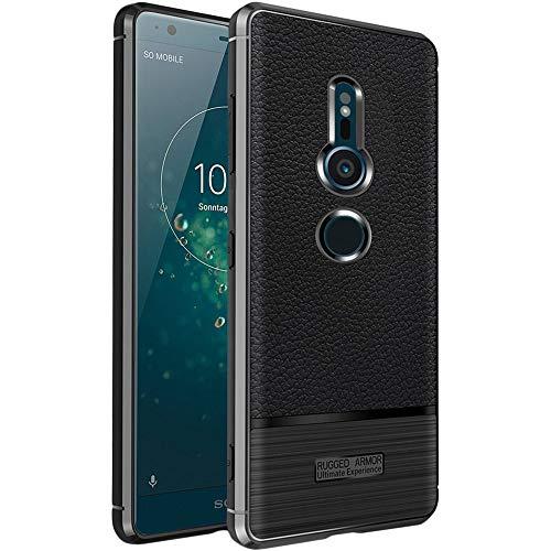 ebestStar - kompatibel mit Sony Xperia XZ2 Hülle Lederhülle Design TPU Handyhülle Schutzhülle, Flex Silikon Hülle, Schwarz [Phone: 153 x 72 x 11.1mm, 5.7'']