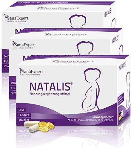 SanaExpert Natalis, Nahrungsergänzung für die Schwangerschaft – mit 700 µg DHA, Folsäure, Eisen, Vitaminen, Monatspackung à 90 Kapseln (3)