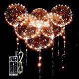 10 PACKS LED Bobo Balloons,Transparent LED Light Up Balloons,Helium Style Glow Bubble Balloons with String Lights for Party Birthday Wedding Festival Decorations (Warm White)