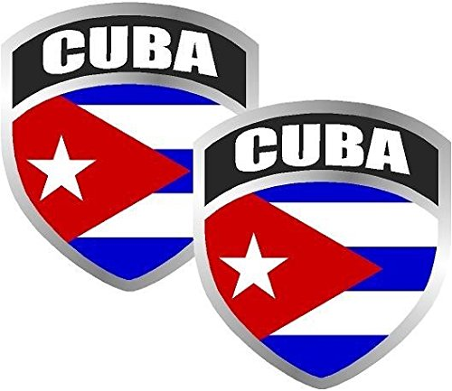 2-3' Cuba Cuban Flag Shield Decal Set Badge Vinyl Window Sticker Car Bumper Window