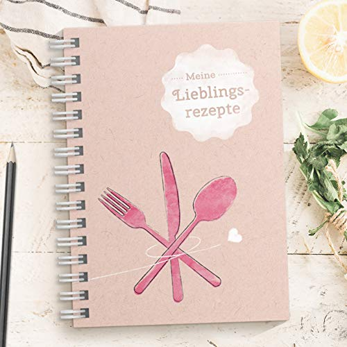 DIY Rezeptbuch zum selberschreiben: PINK / ROSA – Meine Lieblingsrezepte – Modernes DIN A5 Kochbuch zum selbstgestalten mit Inhaltsverzeichnis, Register und Schutzfolie (Made in Germany)