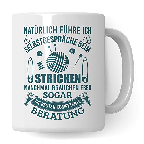 Pagma Druck Stricken Geschenk Tasse, Strickerin Spruch Becher Geschenkidee, Kaffeetasse Häkeln Kaffeebecher (Weiß/Weiß)