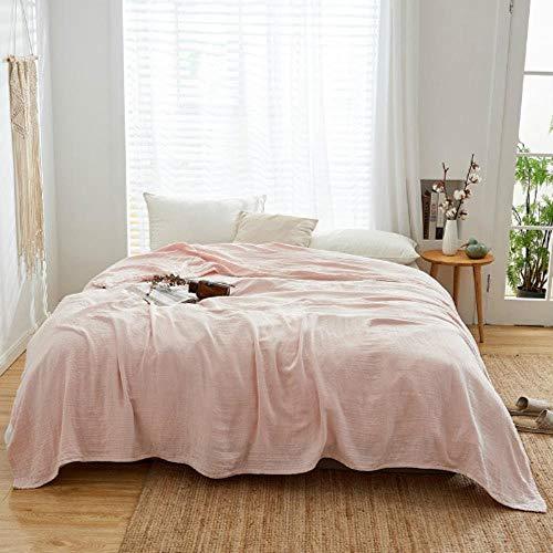 SPRFUL weiche, leichte 3-Lagen-Bettdecke aus Baumwoll-Musselin für Erwachsene mit sommerdünner Steppdecke, 150 x 200 cm, 200 x 220 cm, Hellrosa, 150 x 200 cm