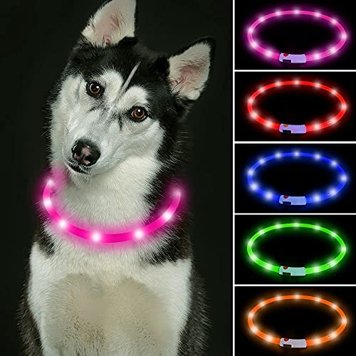 Collar de perro LED recargable USB que brilla intensamente para perros (rosa)