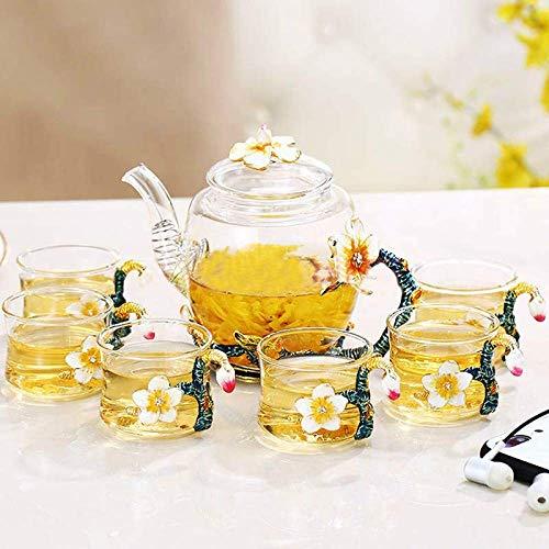 Porcelain ceramic coffee tea set 6 European-style Teapot, Enamel Teapot Glass Coffee Pot Cup Set Flower Puer Oolong Tea Kettle Heat Resistant Glass Teapot Kung Fu Tea Set Gift Box Fashionable househol