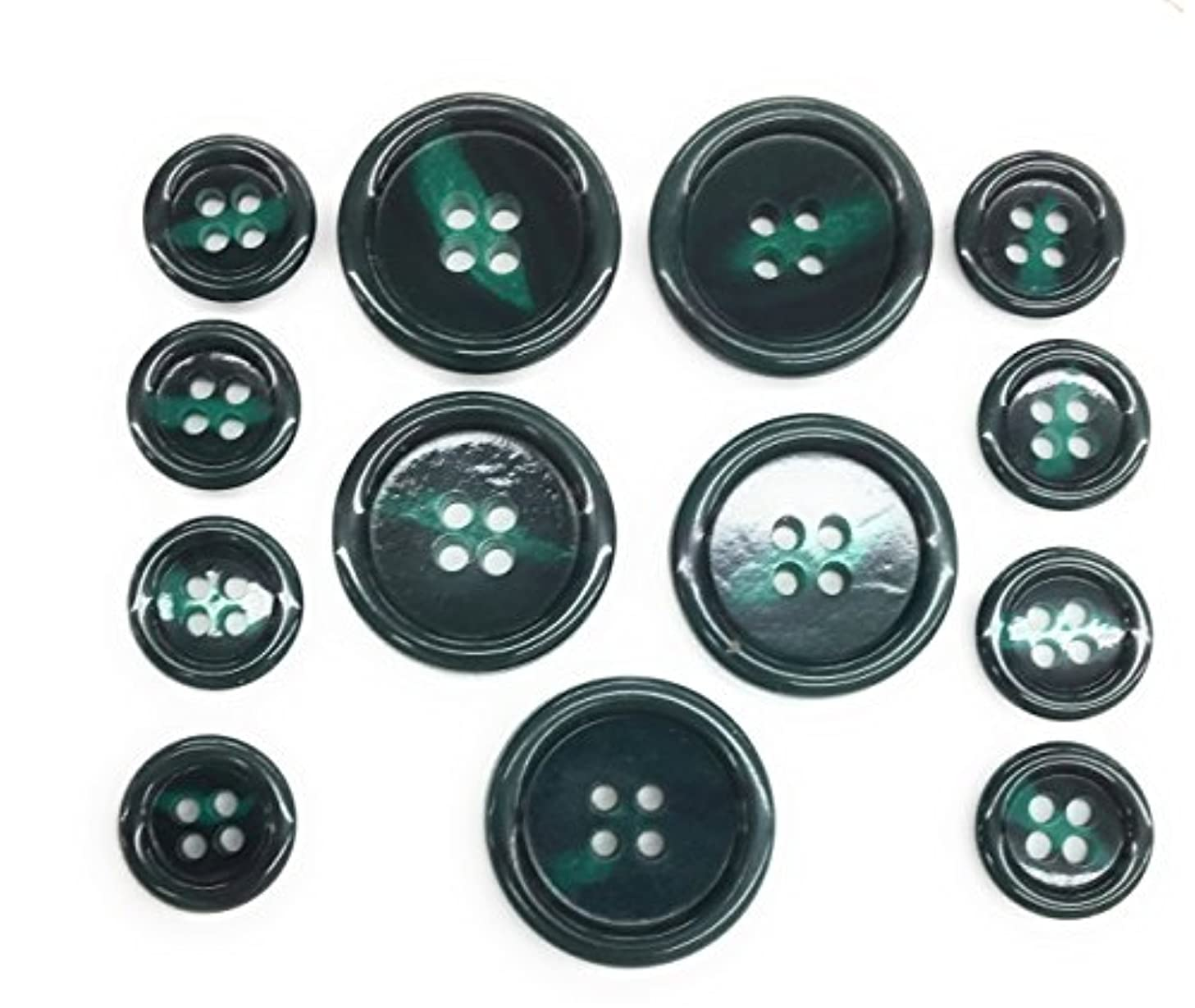 GREEN BUTTONS Set 4 Holes Tailored for Suits, Sport coats, Jacket and Blazer 13pc.5/8''- 7/8 ''