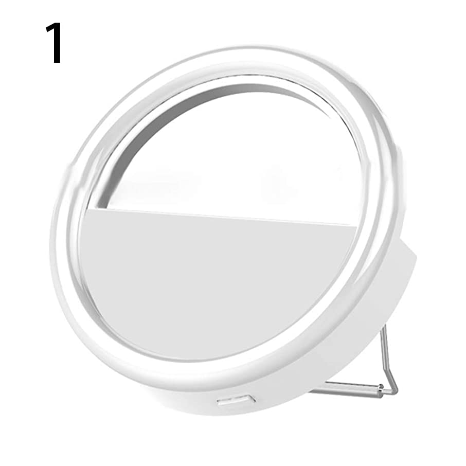 wewa98698 Universal Selfie Clip On Ring Light, Adjustable LED 3 Level Brightnes Phone Camera Flash Fill Light with Makeup Mirror Lens 1#