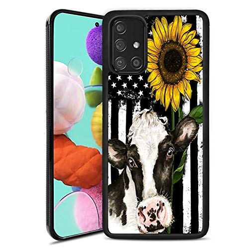 Samsung Galaxy A51 Case,Sunflower Cow Design for Women Girls Soft TPU Compatible with Samsung Galaxy A51 Shockproof and Anti-Slip Protective Case for Samsung Galaxy A51