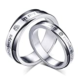 rowag novelty 6mm mens titanium stainless steel couple rings for him and her 5mm womens valentines