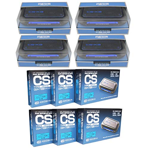 JDM CSX3 Fresh Squash Scent 4 Units and 6 Refill Cartridges CS-X3 Bundle Car Air Freshener