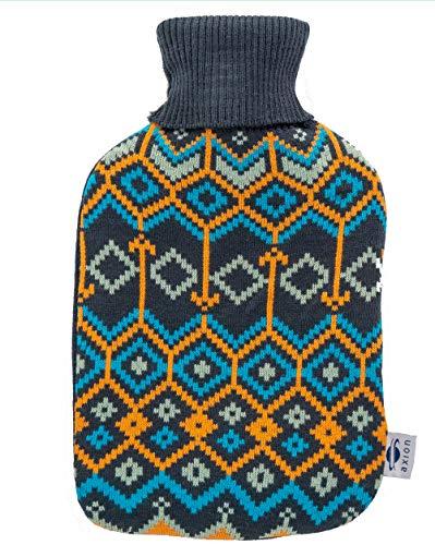 Bolsa de agua caliente axion -incluye funda/forro de algodón azul con estampado