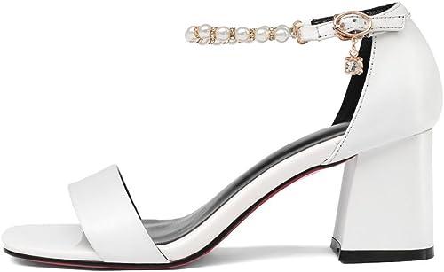 Sandalias De Moda De Cuero De damen Hebillas De Palabra schuhe Abiertos De Tacón Alto Salvaje Vestido