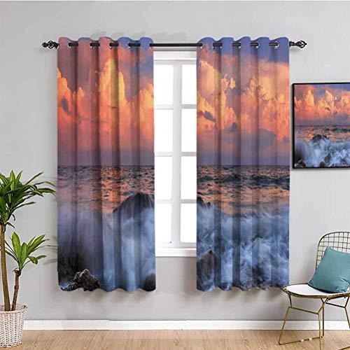 Ocean Decor Collection - Cortina opaca para dormitorio, diseo de tormenta con nubes densas en horizonte y un mar ondulado en una baha rocosa al amanecer, cortina para cafetera de 72 x 72 pulgadas