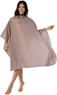 WM BEAUTY Anti-static Full Size Multi-purpose Hairdressing Salon Cape Classic Adjustable Water Repellent Stripe Hair Cutting Gown,Khaki